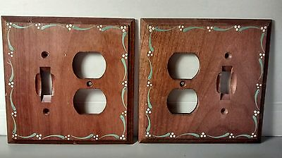 Vintage Wooden Switch Covers Wall Plates Hand Painted Mid Century Set of 2
