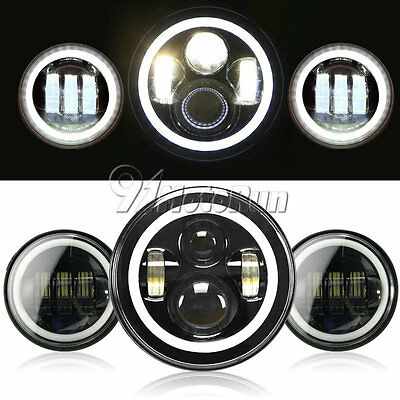 "7"" LED Projector Daymaker Headlight+ Passing Light Angel Eyes For Harley Touring"