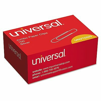 Universal, Paper Clips, Smooth, Jumbo, Silver, 100/Box, 10 Boxes, 1000 Total