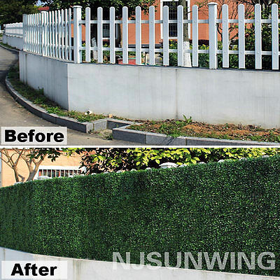 33 Sq.ft Artificial Boxwood Hedge Greenery Panels UV Mat Privacy Fences Screen