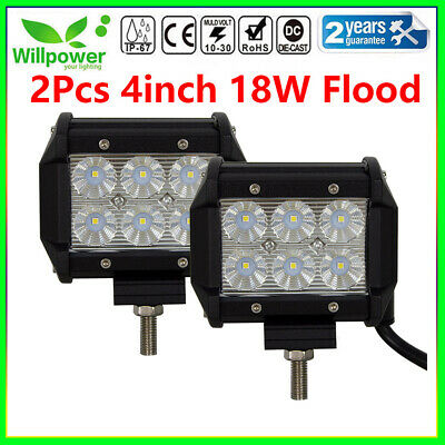 2x 4 inch 18W LED LIGHT BAR WORK FLOOD LAMP BEAM OFFROAD BOAT UTE CAR TRUCK SUV
