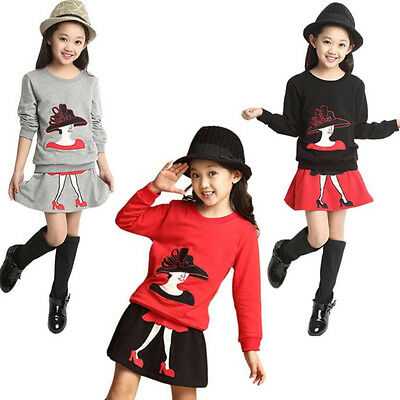 2PCS Kids Girls Outfits Clothes Cotton Long Sleeve Tee Tracksuit Tops+Skirt Sets