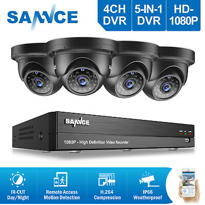 SANNCE 4CH 1080P Security DVR Day/Night Vision CCTV Surveillance Cameras System