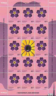 Armenia Armenian Genocide Forget Me Not Flower Definitive Sheet 14 Stamps MNH