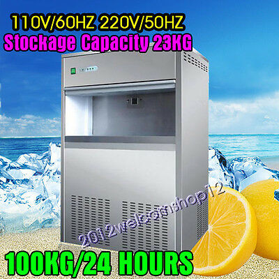 Commercial Snow Flake Ice Maker Making Machine 100KG/24h 23KG Storage Capacity