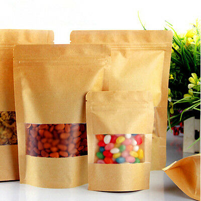 1 to 2000 Pcs Ziplock Stand Up Pouches Bags With Window Kraft Paper Wholesale