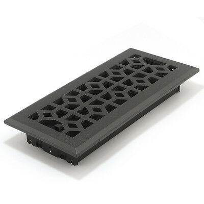 "4"" x 10 Cast-Iron Black Metal Floor Diffuser Register Vent Cover Heating AC HVAC"