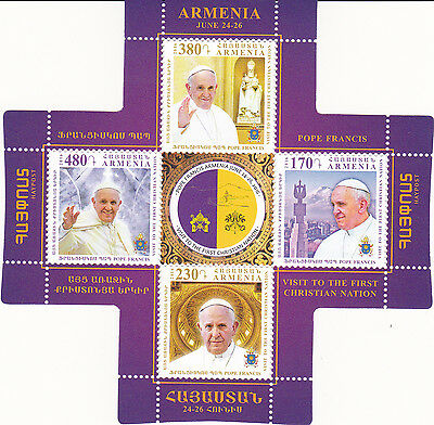 Armenia Pope Francis Visit to First Christian Nation Mini Sheet 4 Stamps MNH
