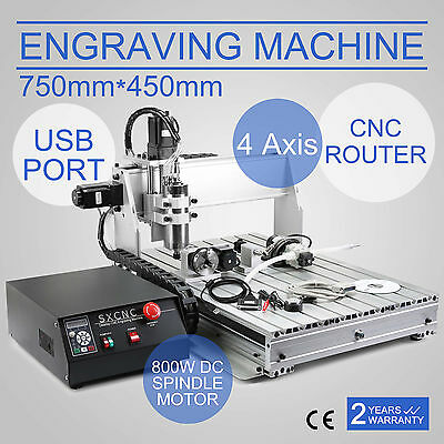 4 Axis Cnc Router 6040T Usb Engraver Engraving Cutter Drilling Machine 800W