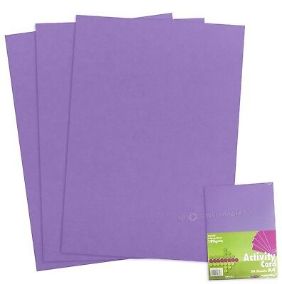50 Sheets of A4 180gsm Coloured Craft Card - Orchid Purple - 1018