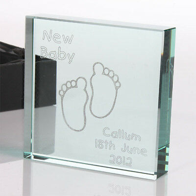 Engraved New Baby Glass Keepsake, Personalised Baby Boy or Girl Gifts Naming Day