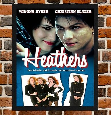 Framed Heathers Movie Poster A4 / A3 Size Mounted In Black / White Frame