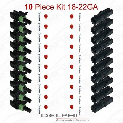 Delphi Weather Pack 1 Pin Sealed Connector Kit 18-22 GA !!!10 COMPLETE KITS!!