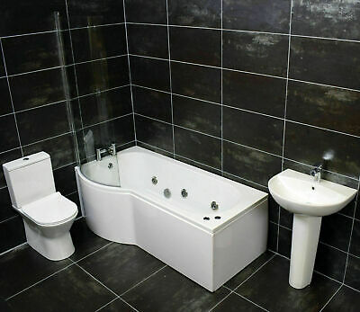 Compact Shower Bath Suite Bathroom Inc Screen + Taps + Whirlpool Jacuzzi Option