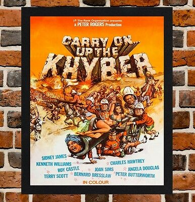 Framed Carry On Up The Khyber Movie Poster A4 / A3 Size In Black / White Frame