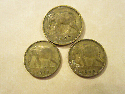 19xx  Belgium Congo 2 franc and 1 frank ELEPHANT set 70 year old coin!!! 2 coins