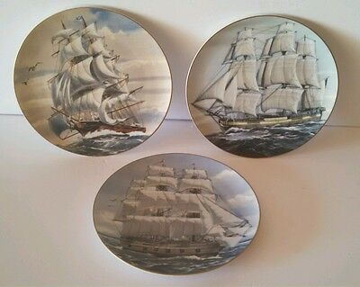 Set of 3 Great American Sailing Ships Rosenthal for Danbury Mint Germany Plates