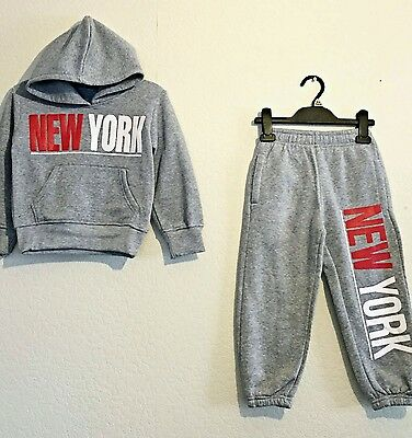 Kids Quilted Tracksuits Boys Girls Top Jogging Bottoms 2 Piece Suit 3-14Y Ny