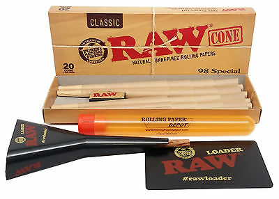RAW Rolling Paper Cones - 98 Special (Medium) - 20 Pack with Loader and More