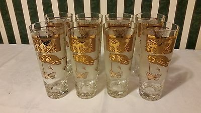Georges Briard Gold Butterfly Highball Tumblers Glasses Set Of 8