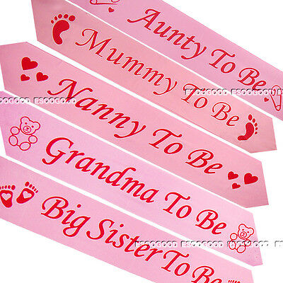 PINK BABY SHOWER SASHES Mummy to be Nanny Aunty, Big Sister Grandma Daddy Sash
