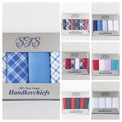 100% COTTON HANDKERCHIEFS HANKIES HANKYS MENS Quality Gift 3/4/5/6/7 Boxed NEW