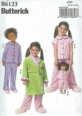 """Butterick 6123 Girls' & 18"""" Dolls' Robe, Belt, Top and Pants    Sewing Pattern"""
