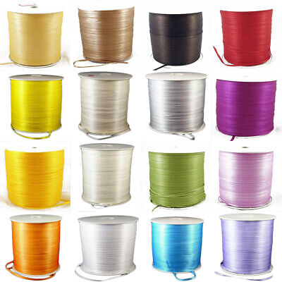 """800 Metres DOUBLE FACED Sided 3mm 1/8"""" Satin Ribbon Craft Wedding 23 Colours"""