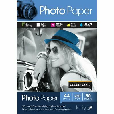 Krisp 250gsm A4 Matte Photo Paper Double Sided 50 Sheet Pack