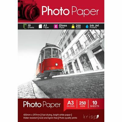 Krisp 250gsm A3 Glossy Inkjet Photo Paper 10 Sheet Pack
