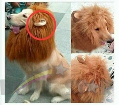 Large Dog Costume Lion Mane with Ears Wig Halloween Party Dress Up Extra Furry