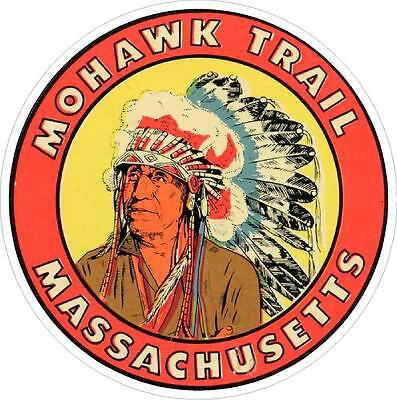 #656 (1) Massachusetts Mohawk Trail Luggage Label Travel Decal Sticker Repro