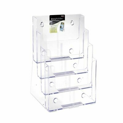 NEW deflect-o Brochure Holder 4 Tier Portrait Office Stationary