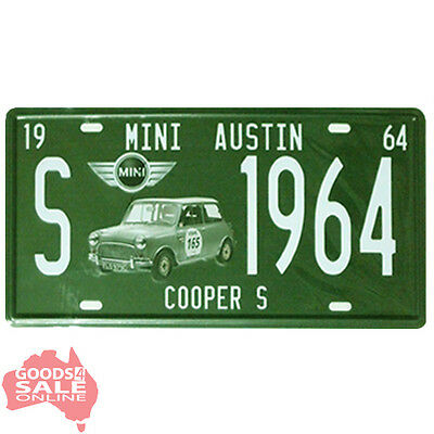 Mini Austin Cooper Novelty Number Plate Style Tin Metal Wall Decor Sign 30x15cm