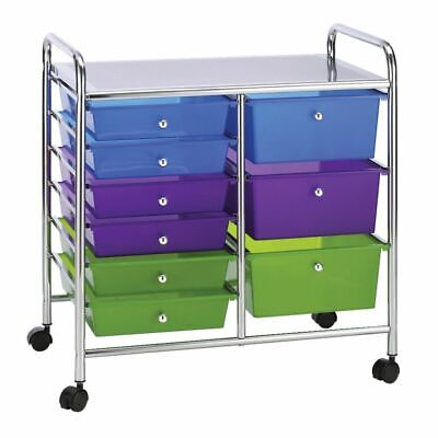 J.Burrows 9 Drawer Chrome Trolley Multi-coloured