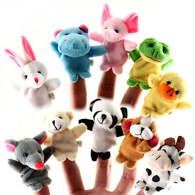10X Animal Finger Puppets Plush Cloth Baby Child Toys Bed Story Finger Puppet