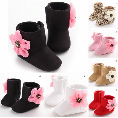 Winter Toddler Baby Girl Warm Flower Boots Soft Sole Crib Shoes Size 0-18 Months