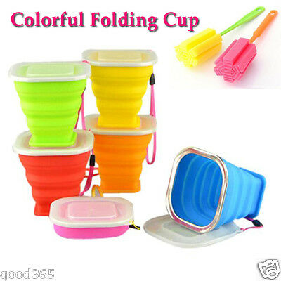 Silicone Folding Drinking Cup Telescopic Collapsible Lid Outdoor Travel Tool Hot