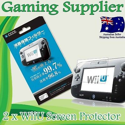 2 X Premium LCD Screen Guard Protector for Nintendo Wii U Gamepad Controller