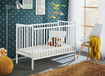 White Classic Pine Wood Baby Cot Cypi with 4 inch Foam Mattress 120 cm x 60 cm