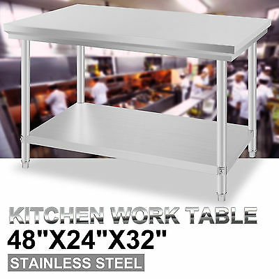 "24"" x 48"" Stainless Steel Work Prep Table Commercial Kitchen Restaurant New"