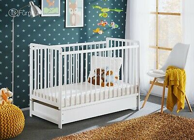 "White Classic Pine Wood Baby Cot Cypi II with 4"" Foam Mattress and Drawer 120x60"