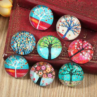 4Pcs Random Flower Tree Printed Glass Funny Fridge Magnets Decor Kids Gift 25mm