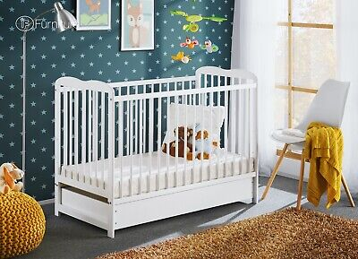 "White Classic Pine Wood Baby Cot Ala with 4"" Foam Mattress and a Drawer 120 x 60"