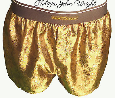 MENS PURE SILK PAISLEY DESIGN CLASSIC BOXER SHORTS ROYAL GOLD  PJW in France