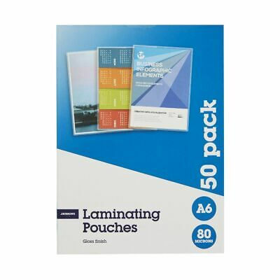 J.Burrows A6 Laminating Pouches 80 Micron 50 Pack Gloss