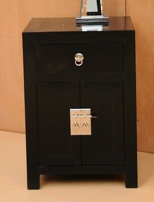 Sanya Black Solid Wood Oriental Bedside Table 1 Drawers and Cupboard Hand Made
