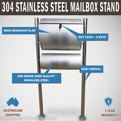 NEW 304 Stainless Steel Townhouse Mailbox Letterbox Letter Mail Post Box Stand
