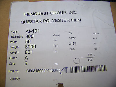 Filmquest Group Questar Polyester Film Type AI-101 75 Micron Thick 2 Rolls 8000'