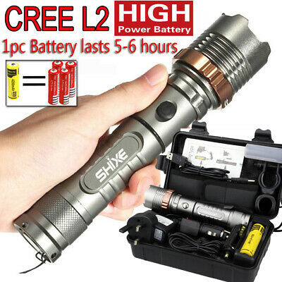 Police LED Flashlight Tactical 20000LM XML Zoomable Torch Lamp AAA 18650 UK021